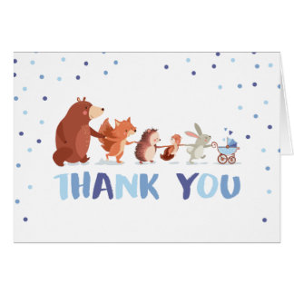 Woodland Thank you card Animals Boy Baby shower
