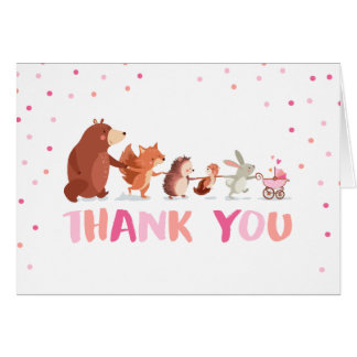 Woodland Thank you card Animals Girl Baby shower