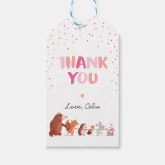 Woodland thank you favor gift tag Pink Girl Forest