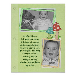 Woodland Toadstool Baby Book Page Poster