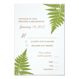 Woodland Wedding Fern with Meal Options 9 Cm X 13 Cm Invitation Card