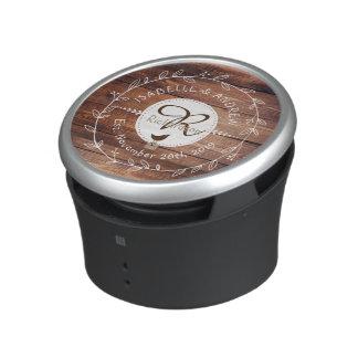Woodland Wedding Monogram Wood Leaf Wreath Bird Bluetooth Speaker