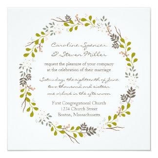 Woodland Wedding Rustic Wreath Invitation