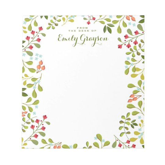 Woodland Wildflower Personalised Social Stationery Notepads