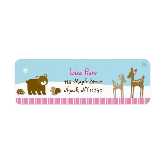 Woodland Winter Forest Animal Address Labels