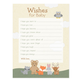 """Woodland """"Wishes For Baby"""" Postcard"""