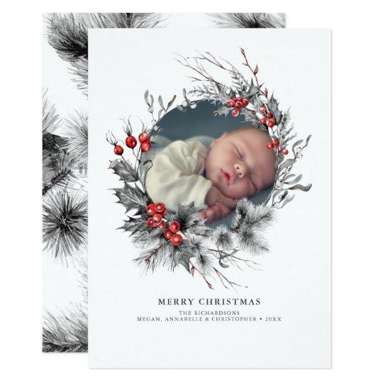 Woodland Wreath Christmas Photo Card