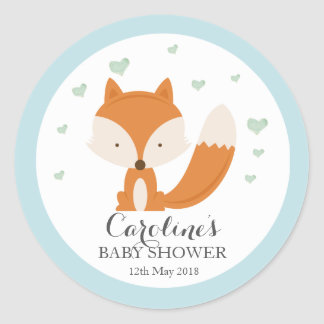 Woodlands Fox Blue Love Blue Baby Shower Sticker Round Sticker