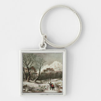Woodlands in Winter Silver-Colored Square Key Ring