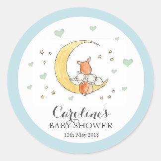 Woodlands Moon Love Blue Baby Shower Sticker Round Sticker