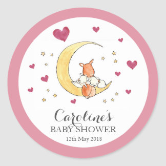 Woodlands Moon Love Pink Baby Shower Sticker Classic Round Sticker