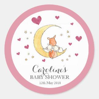 Woodlands Moon Love Pink Baby Shower Sticker Round Sticker