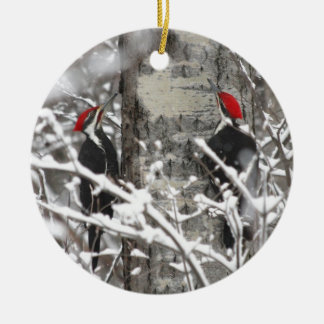 Woodpecker In Winter Double-Sided Ceramic Round Christmas Ornament