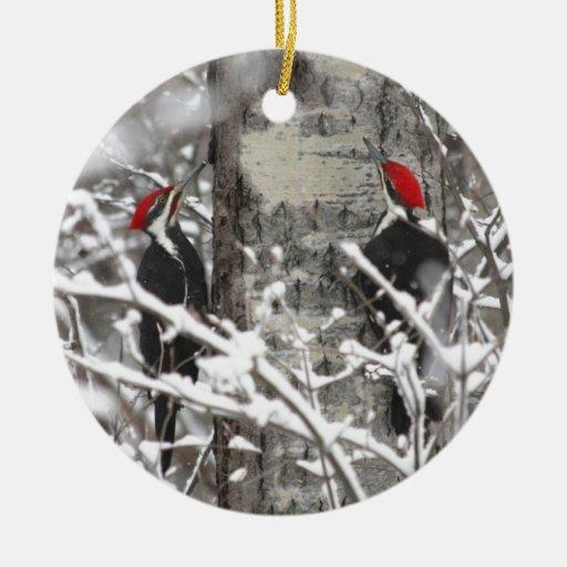 Woodpecker In Winter Ornament