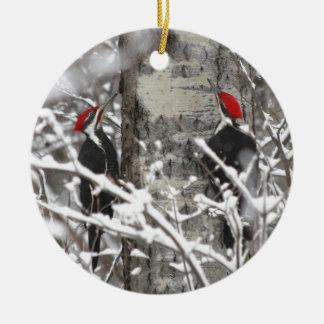Woodpecker In Winter Round Ceramic Decoration