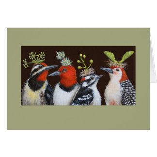 Woodpeckers on Green Hat night card