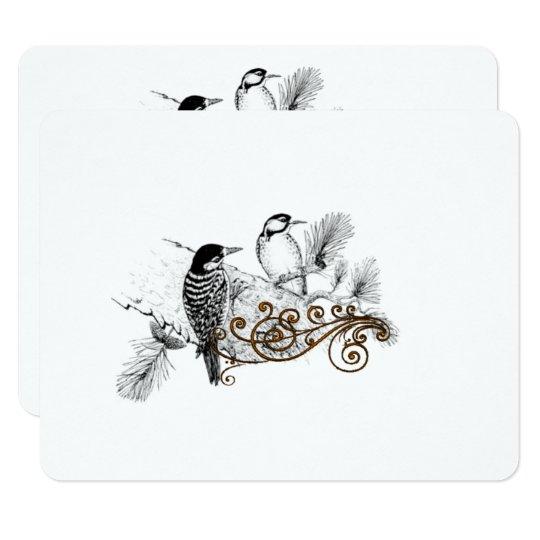 Woodpeckers Vintage Love Birds Wedding RSVP Card