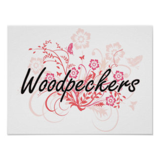 Woodpeckers with flowers background poster