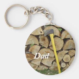 Woodpile and Axe Basic Round Button Key Ring