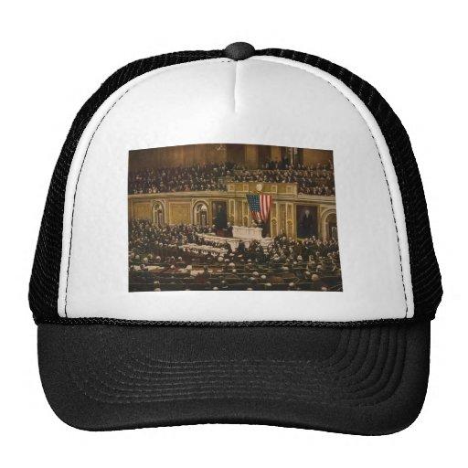 Woodrow Wilson asking Congress to Declare War Mesh Hats