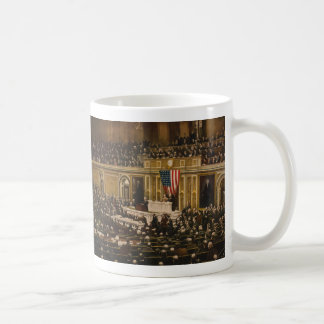 Woodrow Wilson asking Congress to Declare War Mug