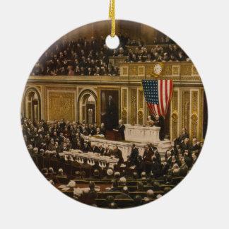 Woodrow Wilson asking Congress to Declare War Round Ceramic Decoration
