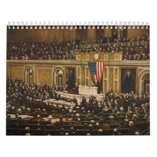 Woodrow Wilson asking Congress to Declare War Wall Calendar