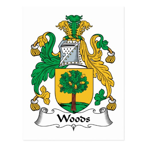 Woods Family Crest Post Cards