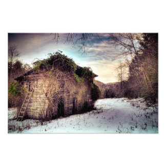 Woodshed in the Snow Photo Print