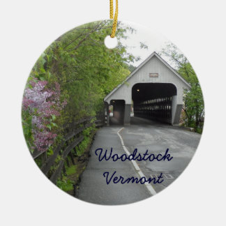 Woodstock Covered Bridge, Vermont Round Ceramic Decoration