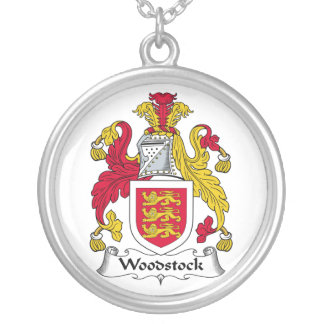Woodstock Family Crest Round Pendant Necklace