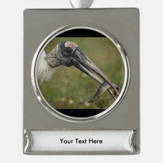 woodstork silver plated banner ornament