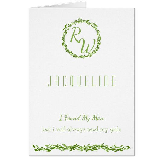 Woodsy Elegance | Wedding Vine Green Bridesmaid Card