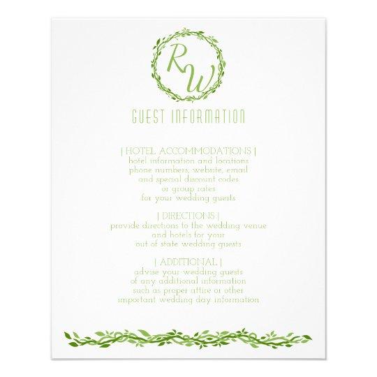 Woodsy Elegance | Wedding Vine Guest Information Flyer