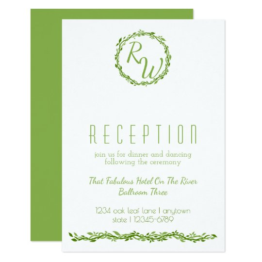 Woodsy Elegance | Wedding Vine Reception Info Card
