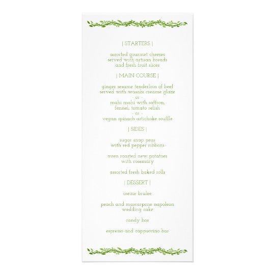 Woodsy Elegance | Wedding Vine Reception Menu Custom Rack Card