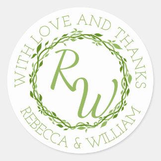 Woodsy Elegance | Wedding Vine Thank You Favor Round Sticker