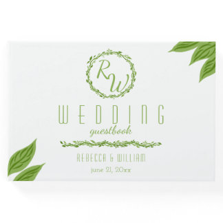 Woodsy Elegance | Wedding Vine White And Green Guest Book