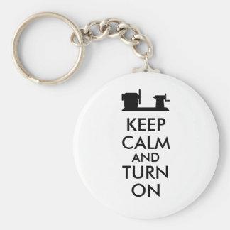 Woodturning Gift Keep Calm and Turn On  Lathe Basic Round Button Key Ring