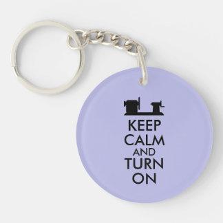 Woodturning Gift Keep Calm and Turn On  Lathe Double-Sided Round Acrylic Key Ring