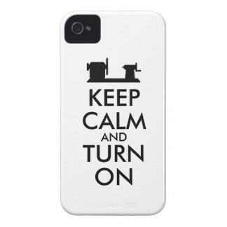Woodturning Gift Keep Calm and Turn On  Lathe iPhone 4 Case-Mate Case