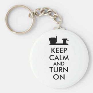 Woodturning Gift Keep Calm and Turn On  Lathe Basic Round Button Key Ring