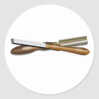 Woodturning Tools Crossed Roughing Gouge and Skew Round Sticker