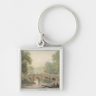 Woody Landscape with a Stone Bridge over a River Key Ring