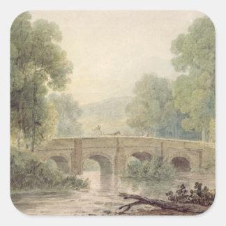 Woody Landscape with a Stone Bridge over a River Square Sticker