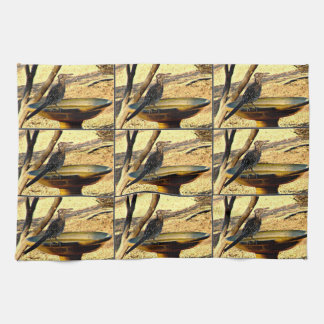 Woody on Bird Bath Kitchen Towel