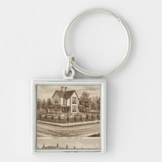 Woody res, Bank of Tulare Silver-Colored Square Key Ring