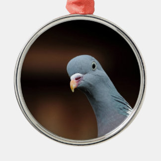 Woody wood pigeon Silver-Colored round decoration