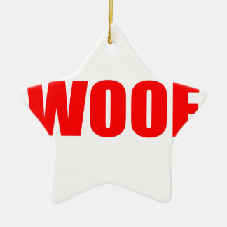 WOOF DOG animal lover bark fun geek vegan language Christmas Ornament