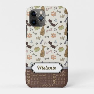 WOOF! Dog Lover - Puppies pattern personalizable Case-Mate iPhone Case